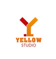 y letter icon for yellow studio vector image vector image