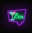 neon cocktails bar or cafe sign in frame with vector image