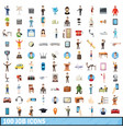 100 job icons set cartoon style vector image vector image