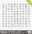 100 Universal Icons For Web and Mobile volume 2 vector image vector image