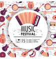 acourdion and instruments to music festival event vector image vector image