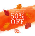 autumn sale poster with orange blot and autumn vector image