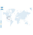 blue world map with magnifying on guatemala vector image vector image