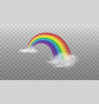bright arched rainbow element with clouds vector image