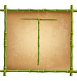 capital letter t made of green bamboo sticks on vector image