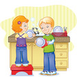 children doing dishes vector image