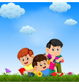children playing and reading the book vector image vector image