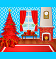 christmas fireplace with xmas tree presents vector image
