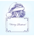 Christmas kitten in Santa stocking hat hand drawn vector image