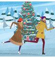 Christmas on ice skating rink vector image vector image
