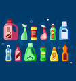 cleaning bottles sanitary chemical liquid vector image vector image