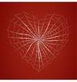 Cobweb heart on red background vector image