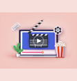 concept online home cinema bucket for popcorn vector image
