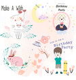 cute sticker boy and girl birthday party vector image vector image