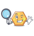 detective hexagon character cartoon style vector image