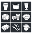 Disposable tableware Icons vector image vector image