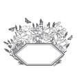 engrave flowers frame sketch meadow design vector image