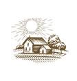 farm emblem sketch agriculture farming village vector image