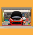 father daughter repairing car vector image vector image