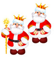 funny santa claus in a gold royal crown with a vector image vector image
