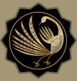 golden mythic bird beautiful antique decoration vector image vector image