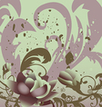 grunge background with roses leaves horizontal vector image vector image