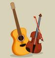 guitar and violin instruments vector image vector image