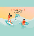 hand drawn abstract summer time funny vector image vector image