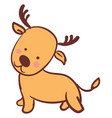 happy little deer on white background vector image vector image
