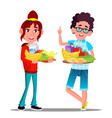 healthy food happy boy and girl with fruits vector image vector image