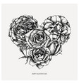 heart with hand drawn roses outlines vintage vector image vector image