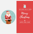 holiday card with santa going down to chimney vector image vector image