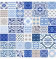indigo seamless patchwork pattern tiles vector image