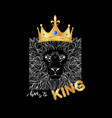 king slogan print with lion in gold crown vector image