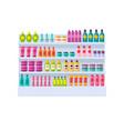 lot of bottles on shelves vector image vector image