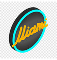 neon sign miami isometric icon vector image vector image