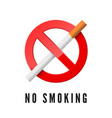 no smoking red prohibition sign with cigarette vector image