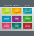 paper folded poster set in bright colors vector image