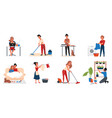 people home activity set cartoon active young vector image vector image