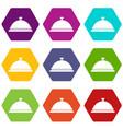 restaurant cloche icon set color hexahedron vector image