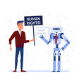 robot and human fighting for the rights vector image