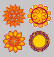 set diwali flowers mandalas to seal decoration vector image vector image