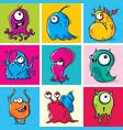 set funny cartoon monsters vector image vector image