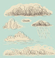 set of clouds hand drawn doodle clouds for design vector image