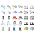 sewing atelier cartoonmonochrom icons in set vector image vector image