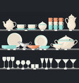 shelves with glassware dish or kitchen utensil vector image