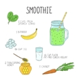 Smoothie recipe with a bottle and ingredients vector image vector image