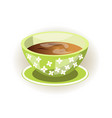 tea cup on saucer mug with flower pattern hot vector image vector image