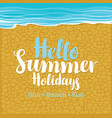 travel banner with sea beach sand and gravel vector image vector image