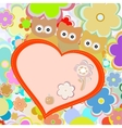 owls in flowers with big heart greetings vector image